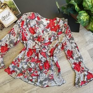 Allison Taylor Floral Button Bell Sleeve Blouse Sm